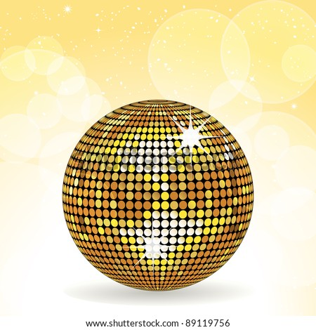 Sparkling gold disco ball on a yellow background