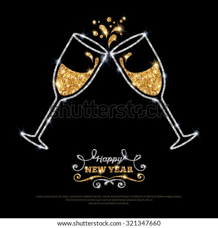 Sparkling gold silver champagne glasses. Vector illustration. Happy New Year Lettering concept. Place for your text message.  - stock vector