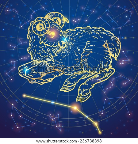 Sparkling hand-drawn aries sheep zodiac sign on a night sky star background - stock vector
