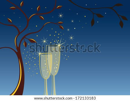 Sparkling invitation background with 2 champagne glasses