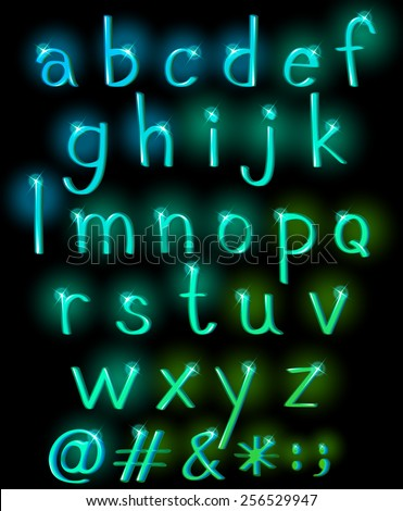 Sparkling letters of the alphabet in lowercase