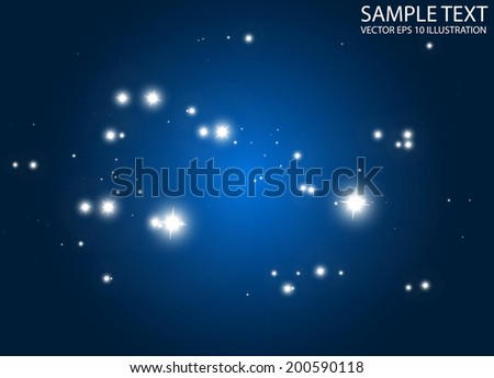 Sparkling lights vector blue background illustration - Abstract vector shiny stars and sparkles blue background template - stock vector