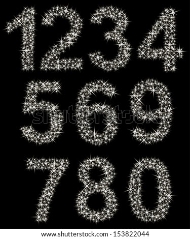 Sparkling number set made of shining stars , from 1 to 9, vector illustration  - stock vector