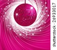 sparkling pink disco ball on an abstract pink swirl background - stock vector