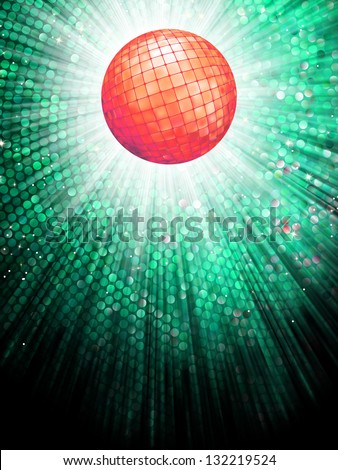 Sparkling red disco ball on a light burst background with mosaic detail. EPS 10 vector file included - stock vector