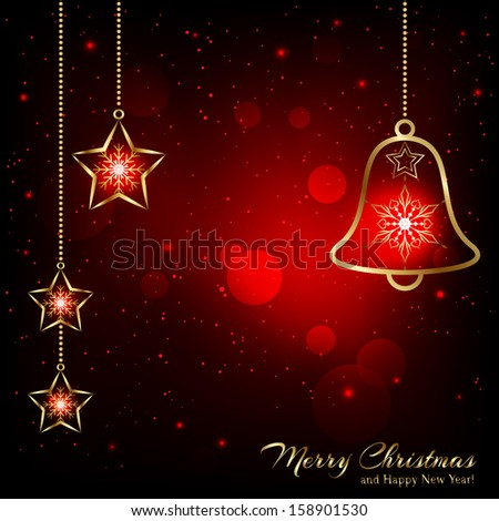 Sparkling Red Gold Christmas Bell Snowflakes Greeting Card - stock vector