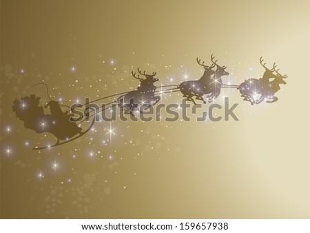 sparkling santa sleigh - stock vector