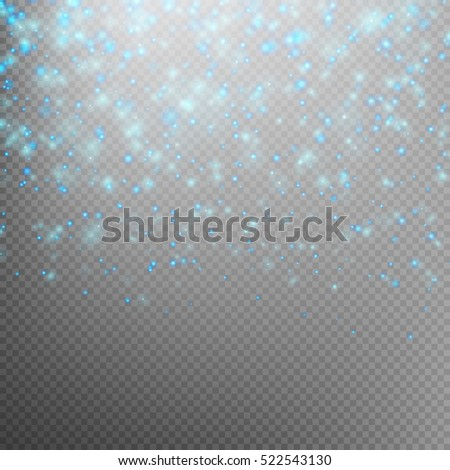 Sparkling snow flakes texture or glitter particles background. Star dust sparks in explosion on transparent background. EPS 10 vector file included