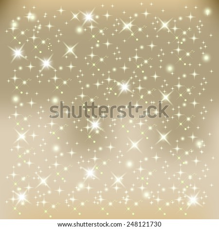 Sparkling stars. Glowing light effect. Romantic card background. Vector illustration. - stock vector