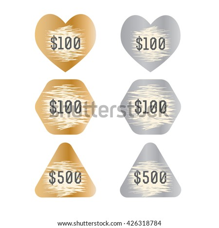 Sparkling stickers with scratches for the game. Sticker in the shape of a heart, triangle, polygon. Vector illustration. - stock vector