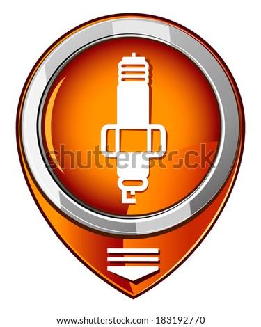 Sparkplug single orange pointer. - stock vector