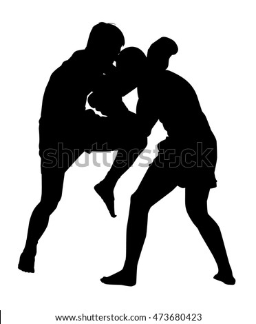sparring kickboxing vector silhouette