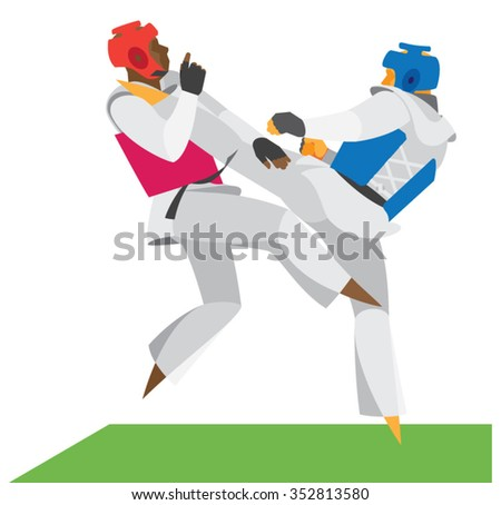 Sparring two experienced fighters Taekwondo - stock vector