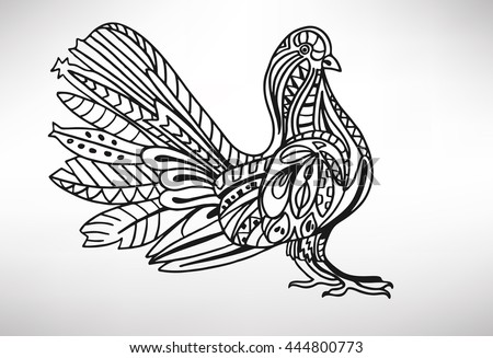 sparrow. Hand-drawn with ethnic pattern. Coloring page - isolated on a white background. Zendoodle patterns. Vector illustration.