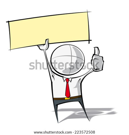 Sparse vector illustration of a of a generic Business cartoon character with thumbs up, holding up a label. - stock vector