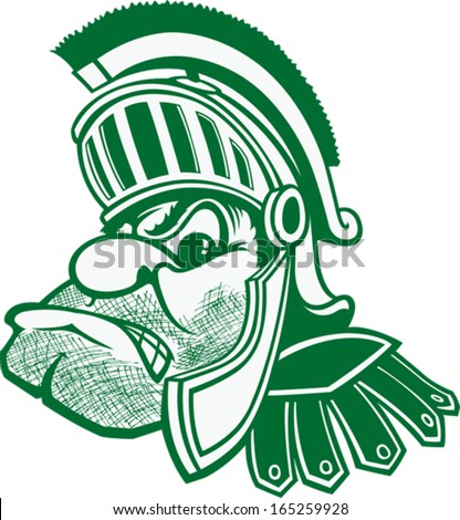 Spartan A cartoon bust of a Spartan with helmet and plume. Vector file. - stock vector