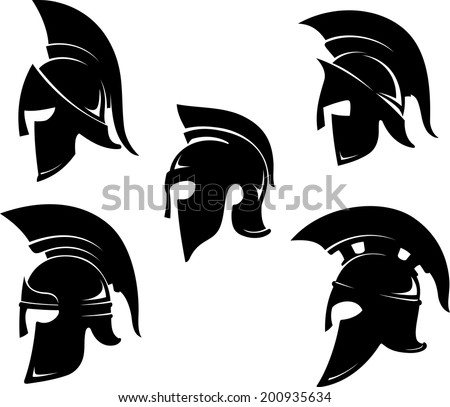Spartan Helm Variations Set  in side view - stock vector