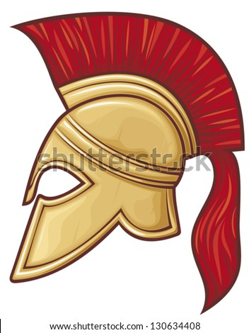 spartan helmet (illustration of an ancient greek warrior helmet, spartan helmet, trojan helmet or gladiator helmet) - stock vector
