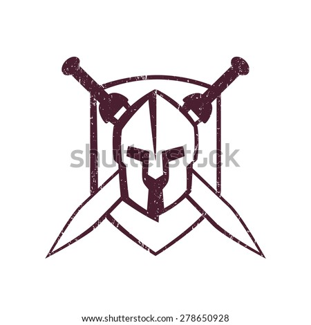 spartan helmet with crossed swords on shield, vector illustration, eps10, easy to edit