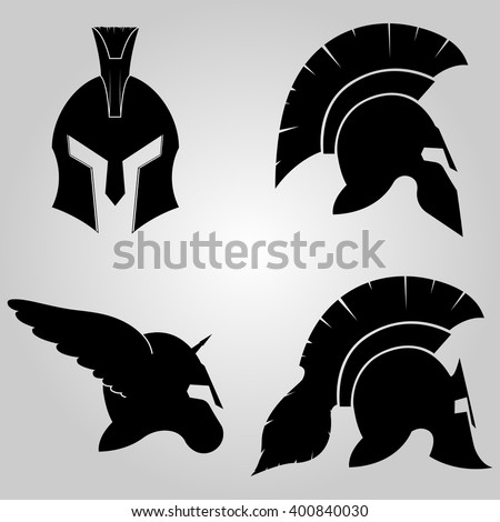 Spartan Helmets set,  full face and in profile silhouettes,  winged  helm with horn, symbol of gladiator soldier or greek warrior or roman legionary, helmet hero sign, vector - stock vector