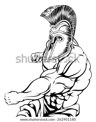 Spartan or gladiator mascot character or sports mascot fighting punching with a fist - stock vector