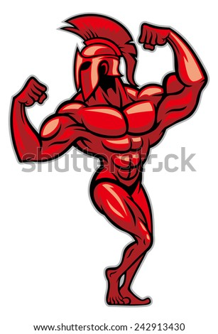 spartan pose and show his big muscle - stock vector