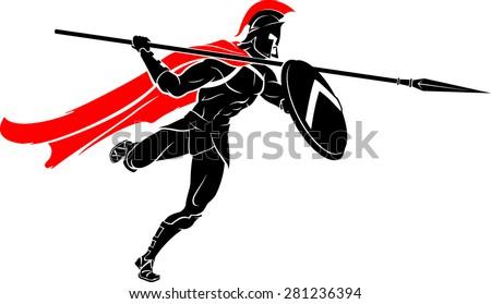Spartan Spear Warrior Attack - stock vector