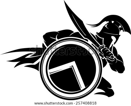 Spartan Warrior Charging Attack - stock vector