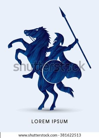 Spartan warrior riders with a spear designed using blue grunge brush graphic vector.