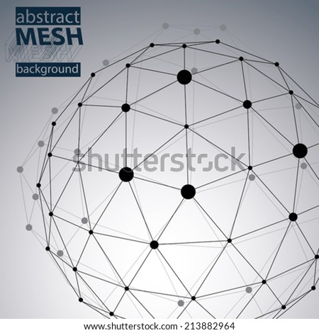 Spatial technological shape, polygonal black and white eps8 wireframe background with creative spherical object made from lines and dots. - stock vector