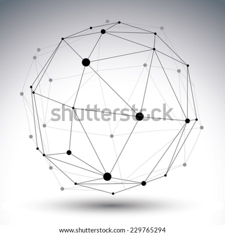 Spatial vector contrast digital eps8 object, geometric dimensional technology wireframe element. - stock vector