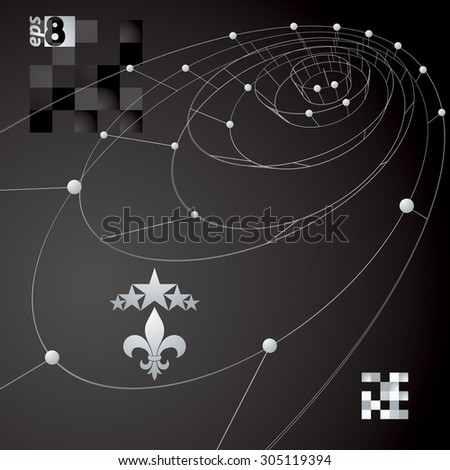 Spatial vector dark digital eps8 backdrop, contrast dimensional technology wireframe background with graphic design elements. - stock vector