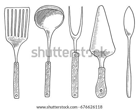 Vintage Kitchen Utensils Illustration cartoon image kitchen utensils stock illustration 183383762