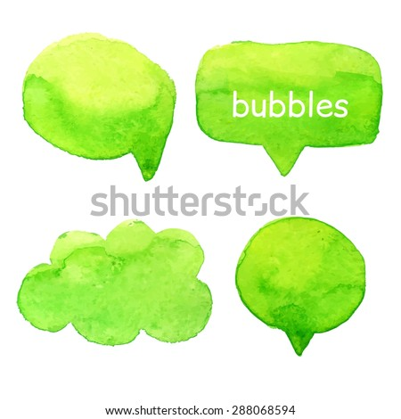 Speak bubbles green watercolor icons set vector  - stock vector