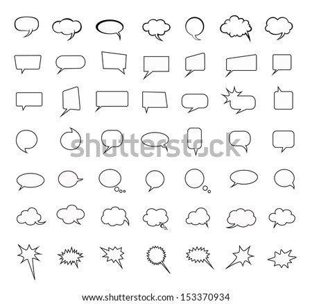 speak bubbles set, Question, communicate, discussion icon on withe background - stock vector