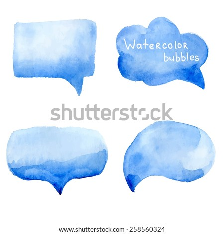 Speak bubbles watercolor icons set vector  - stock vector