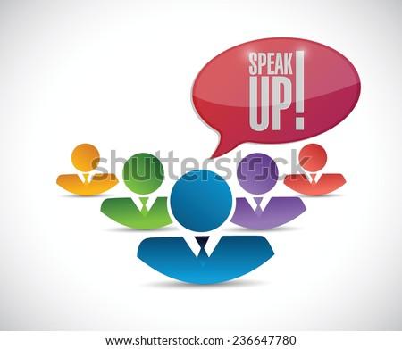 speak up diversity team. illustration design over a white background - stock vector