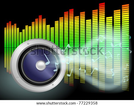 Speaker and notes in the smoke with graphic equalizers in the background - stock vector