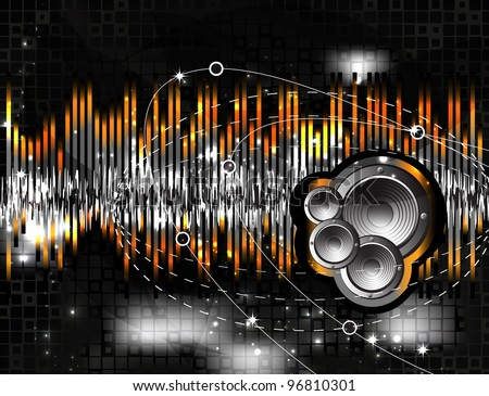 Speaker and sound wave - stock vector