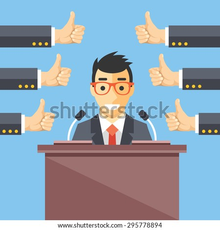 Speaker and thumbs up. Great speech, excellent speaker, productive ideas flat illustration concept for web banners, web sites, printed materials. Creative vector illustration
