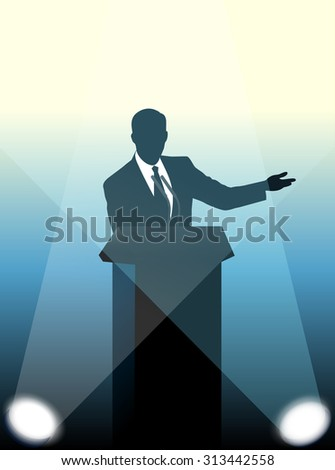 speaker at a microphone - stock vector