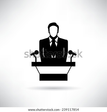 speaker at business conference - stock vector
