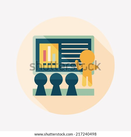 Speaker at business workshop flat icon with long shadow,eps10 - stock vector