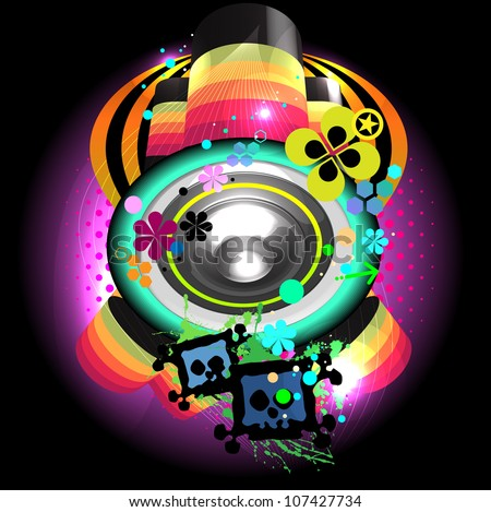 speaker colorful composition isolated on black - stock vector