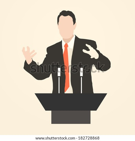 Speaker delivers a speech to an audience at the podium with a microphone. Wide and expressive gestures of the speaker. Rhetoric. Oratory. Policy. Eloquence. icon. vector illustration - stock vector