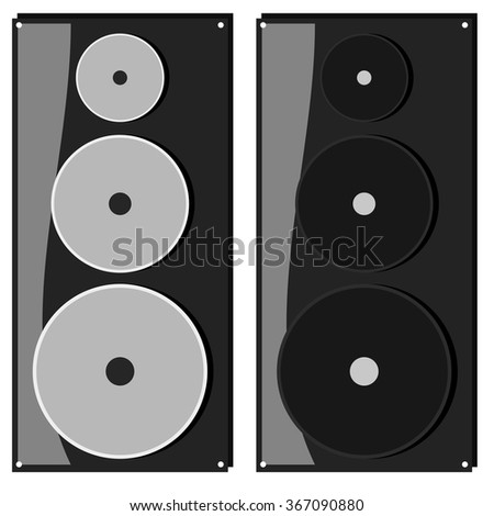 Speaker flat icon sound audio concept illustration - stock vector