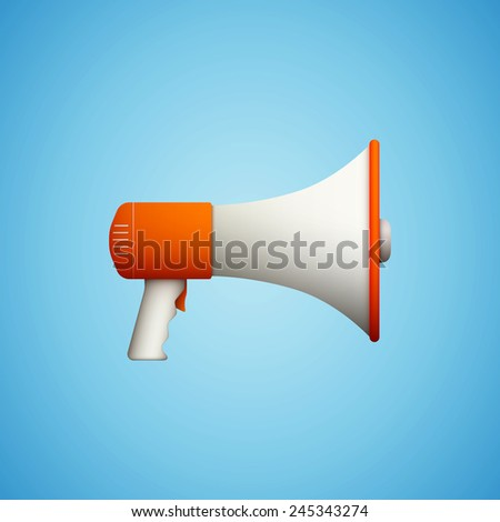 speaker icon on blue background eps10 flat style vector illustration - stock vector