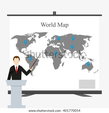 Speaker  in a suit points to stand with world map - stock vector