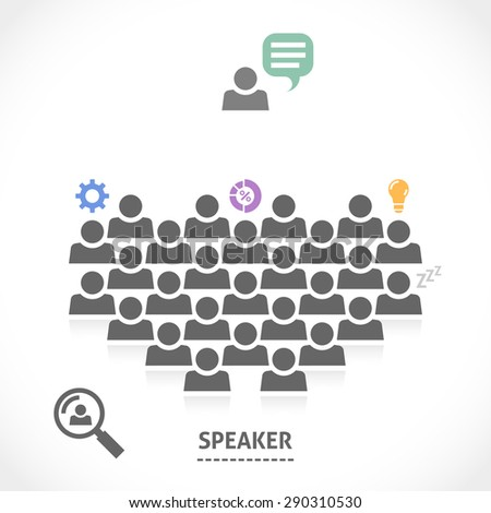 Speaker is reading a lecture to an audience. Orator speaking about nice innovative business ideas. - stock vector
