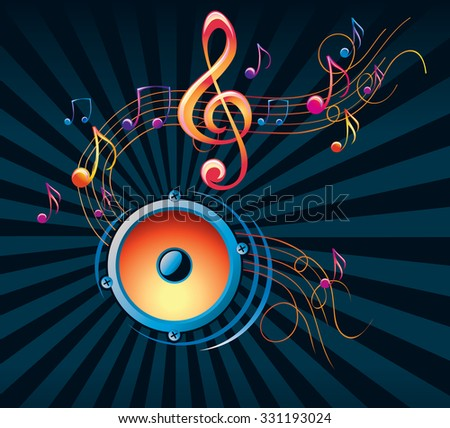 Speaker & notes - modern music design - stock vector